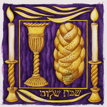 Shabbat Shalom: challah, wine cup, and candles.